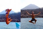 Jumping in front of the volcano (Schlossbergmartin Sonne)